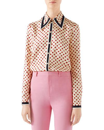 Heart-Clover Silk Twill Shirt