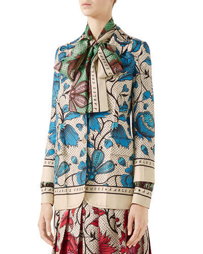 Silk Watercolor Floral Jacket