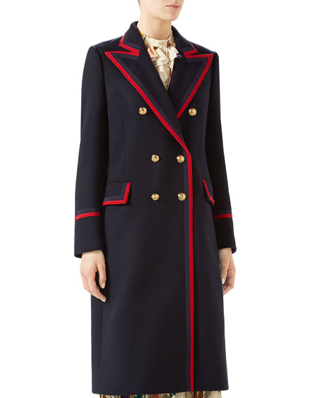 Gucci Military Wool-Cloth Coat