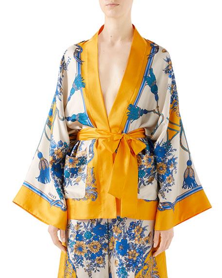 Floral & Tassel Print Silk Kimono Shirt