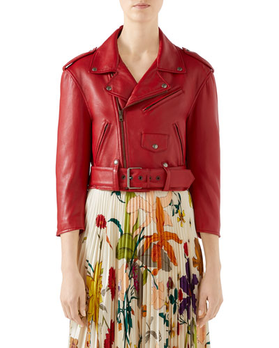Embroidered Soft Leather Biker Jacket