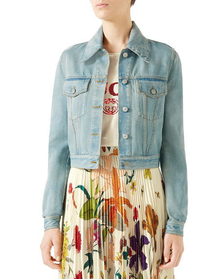Gucci Patchwork-Back Stone-Washed Denim Jacket