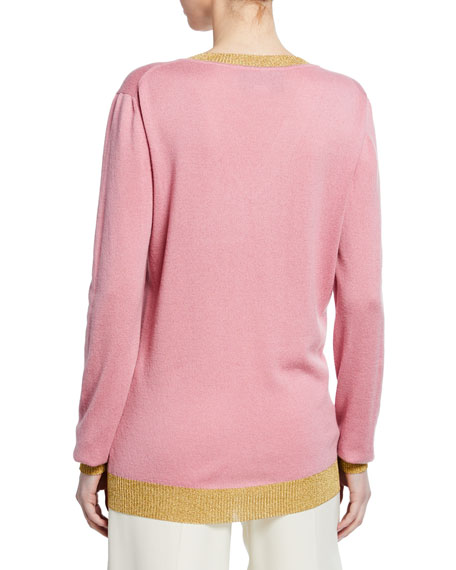 Cashmere V-Neck Shimmer-Trim Top
