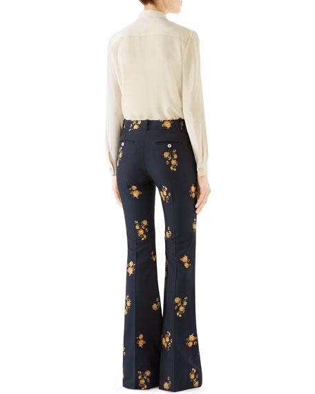 Flower-Embroidered Silk Button-Front Shirt