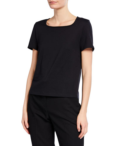 Jackie Short-Sleeve Cotton-Cashmere Top