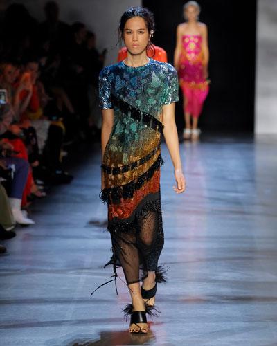 Short-Sleeve Tasseled Crewneck Midi Dress