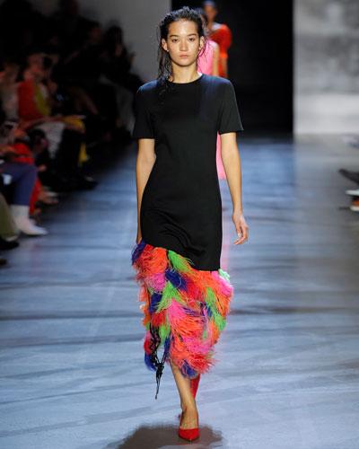 Short-Sleeve Rainbow Feather-Hem Dress