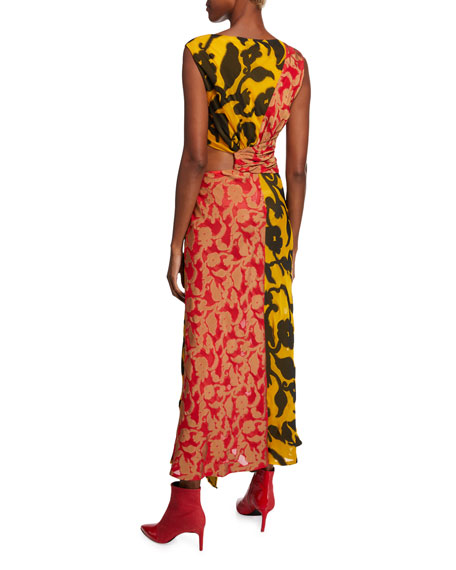 0dd51505aa93ea Prabal Gurung Ruffle-Trim Sleeveless Mixed Floral-Print Dress