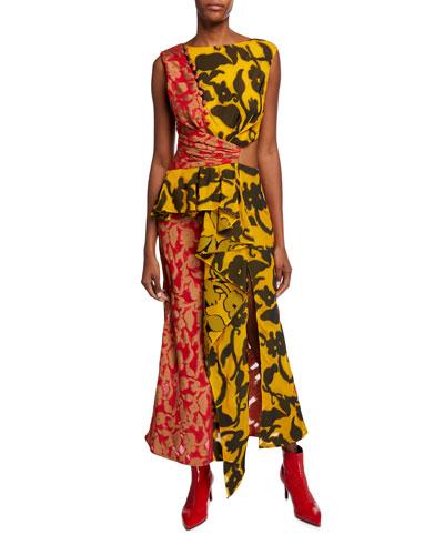 Ruffle-Trim Sleeveless Mixed Floral-Print Dress
