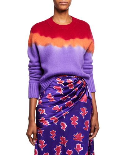 Cashmere Cropped Tie-Dye Sweater