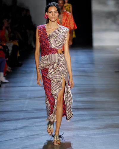 Sleeveless Ruffle-Trim V-Neck Mixed Plaid Dress
