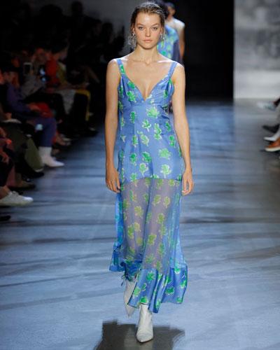 Sleeveless Leaf-Print Silk Sheer-Skirt Dress