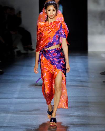 Tie-Shoulder Mixed-Floral Silk Cutout Dress
