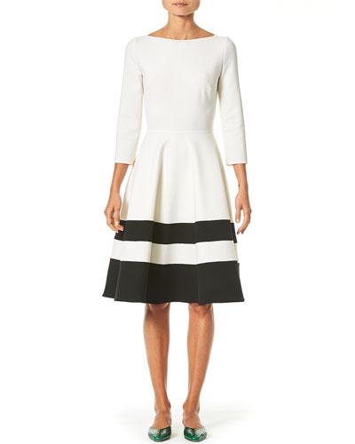 Striped-Skirt Bateau-Neck A-Line Dress