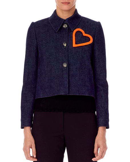Carolina Herrera Heart-Embellished Cropped Denim Jacket