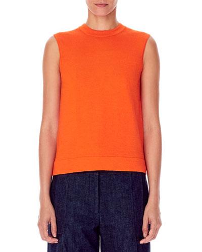 Cashmere-Silk Sleeveless High-Neck Knit Shell