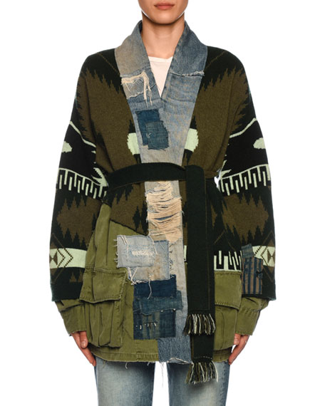 Alanui x Greg Lauren Icon Patchwork & Intarsia-Cashmere