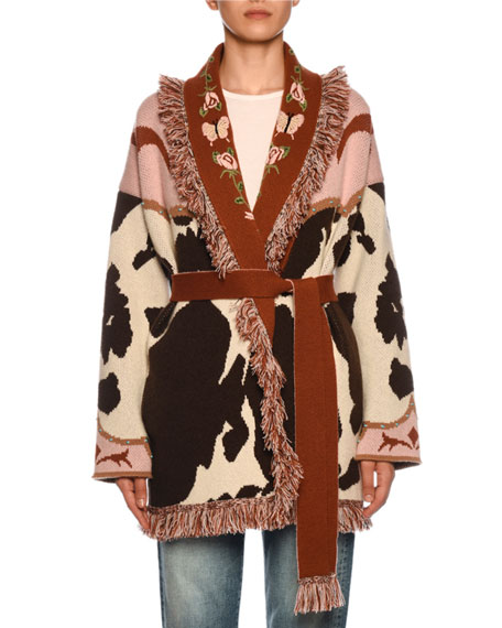 Alanui Cow-Jacquard Cashmere Belted Cardigan