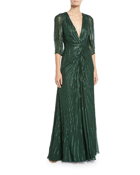 Tana 3/4-Sleeve Beaded V-Neck Knotted Gown