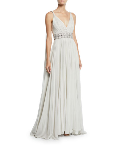 7d53d2d0725 Tahoe Wrapped Silk-Chiffon V-Neck Gown Quick Look. Jenny Packham