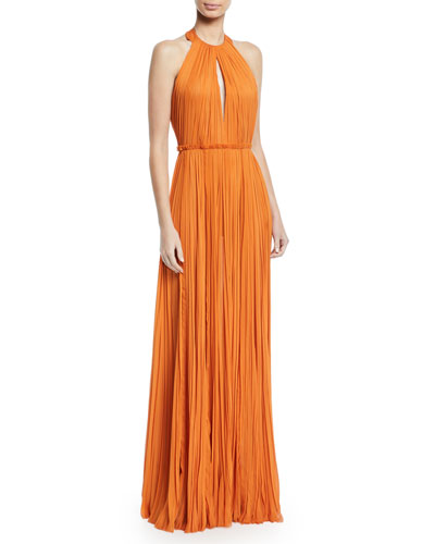 Halter-Neck Pleated Gown