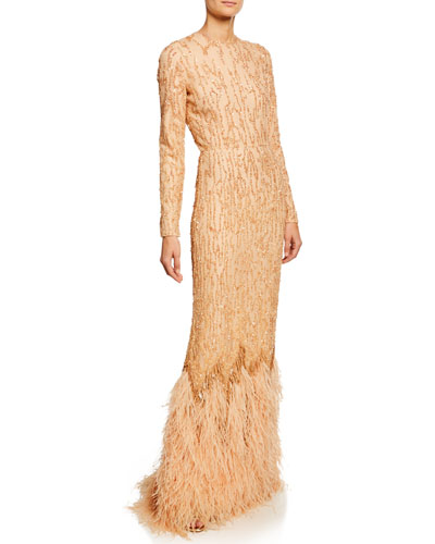 Beaded Long-Sleeve Column Gown with Ostrich Feather Hem
