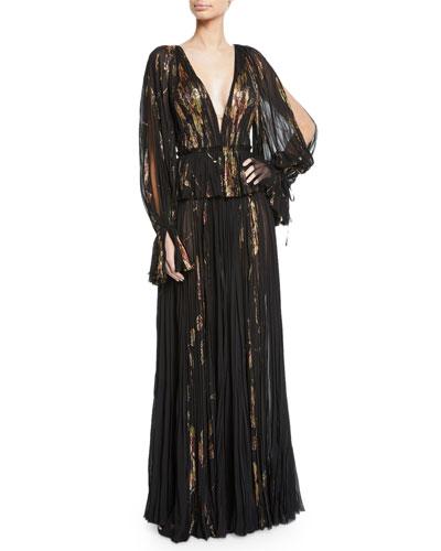 V-Neck Metallic-Floral Slit-Sleeve Gown