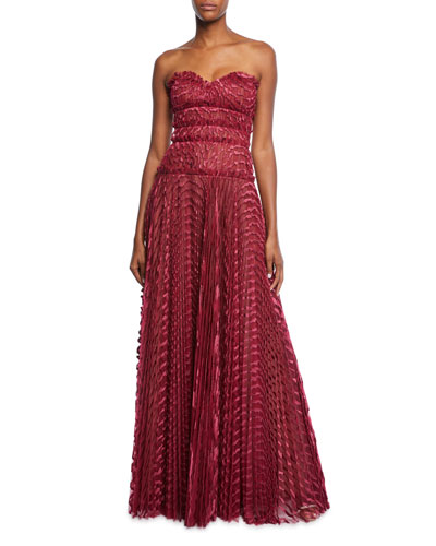 Sweetheart Strapless Pleated Gown Quick Look J Mendel