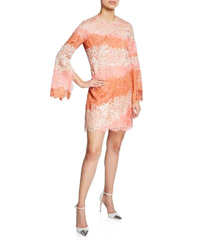 Striped Lace Bell-Sleeve Mini Dress