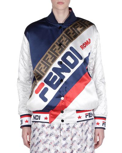 Fendi Mania Silk Button-Front Bomber Jacket