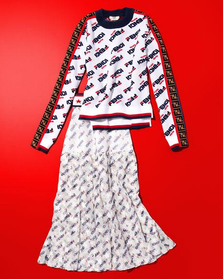 Fendi Mania Crewneck Chenille-Knit Sweater