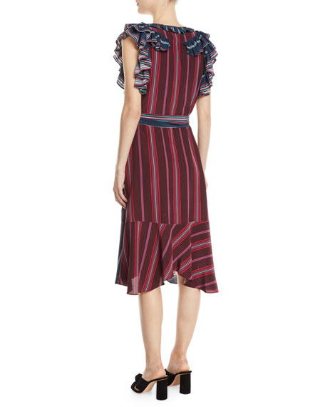 Tessa Flutter-Trim Striped Midi Dress