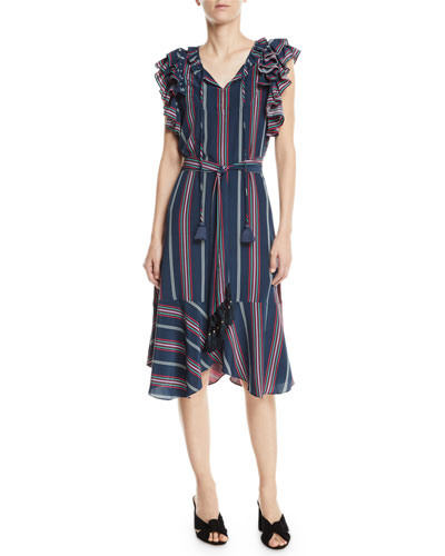 Tessa Flutter-Trim Striped Midi Dress