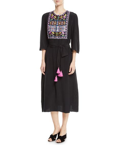 Figue Dahlia 3/4-Sleeve Embroidered Bib Midi Dress
