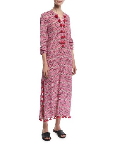 Paolina Ikat-Print Maxi Caftan Dress
