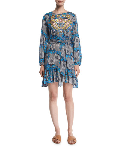 Clementine Long-Sleeve Embroidered Mini Dress