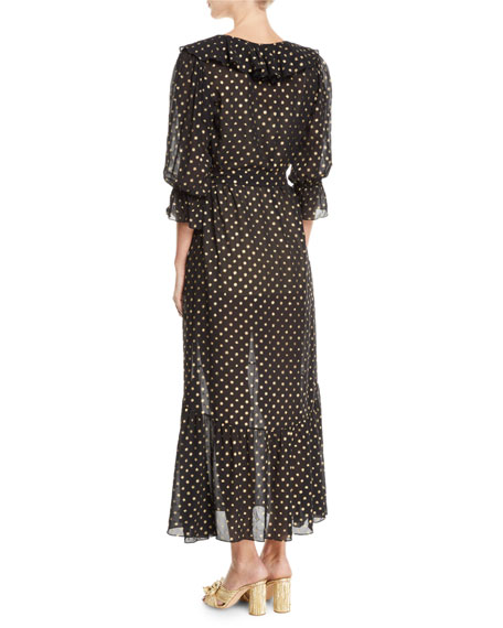 Nyla Golden-Polka Dot Georgette Maxi Dress