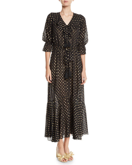 Figue Nyla Golden-Polka Dot Georgette Maxi Dress