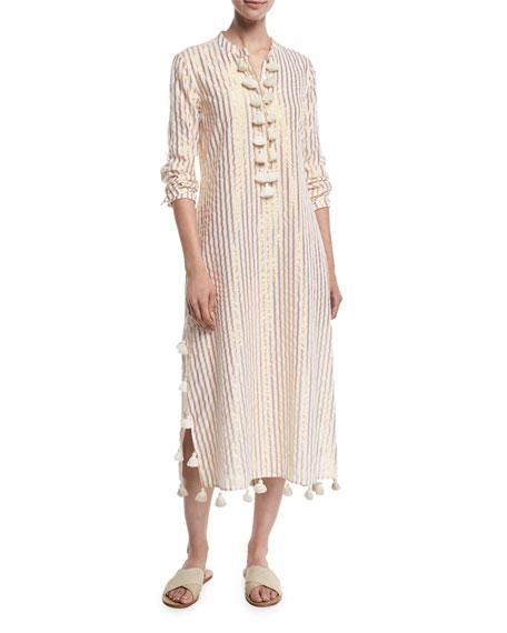 Figue Paolina Metallic Stripe Maxi Caftan Dress