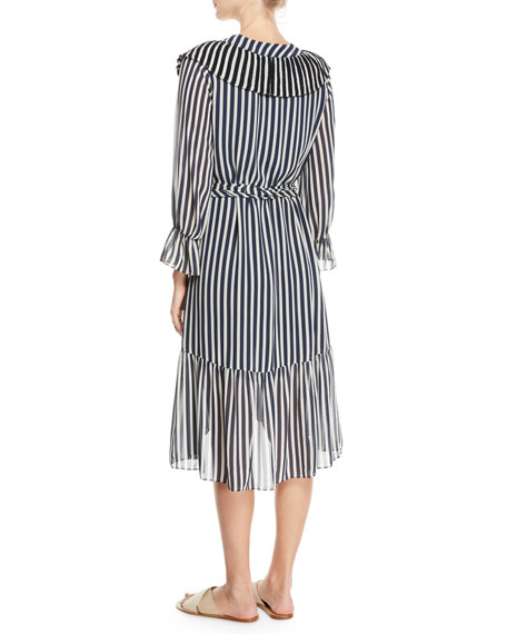 Carla Flare-Sleeve Striped Georgette Dress