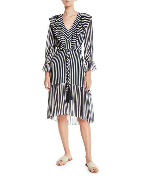 Figue Carla Flare-Sleeve Striped Georgette Dress