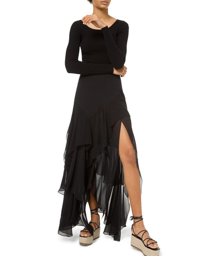 Ruffle-TIered Chiffon Side-Slit Maxi Skirt