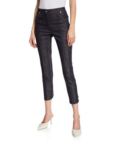 Mid-Rise Seamed Button-Back Denim Trousers