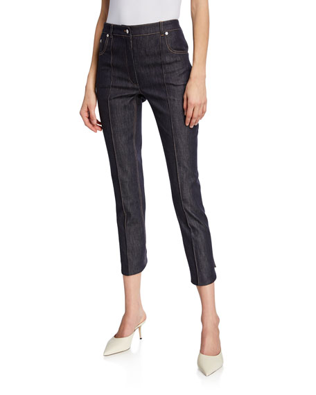 Rokh Mid-Rise Seamed Button-Back Denim Trousers