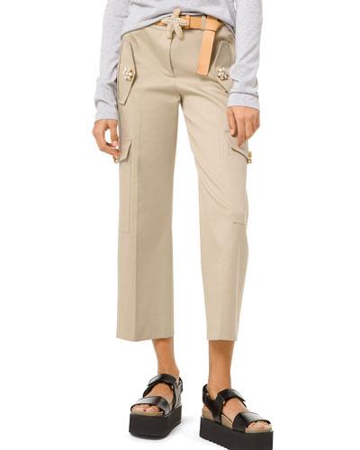 Gem-Button Cotton-Twill Cargo Pants