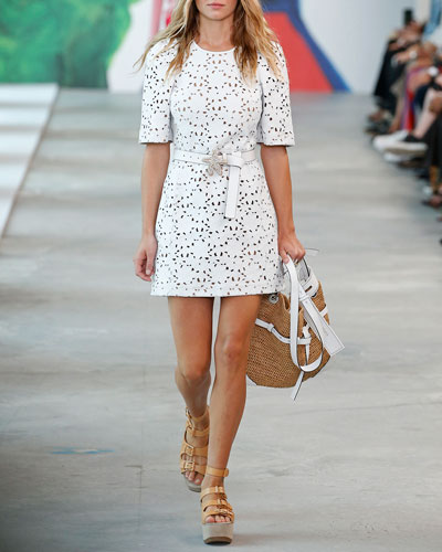 Floral-Embroidered Crystal-Belted Leather Shift Dress