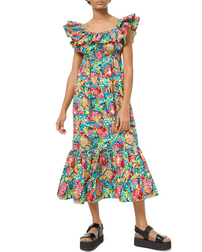 Aquatic Sealife Ruffled Maxi Dress