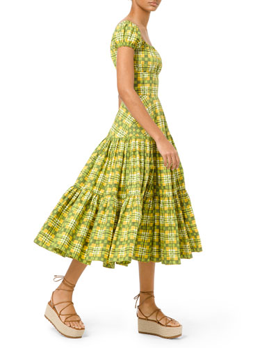 Off-The-Shoulder Painterly Madras Poplin Dress