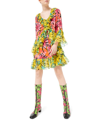 Sprint-Sunflower Georgette Ruffled Flare Sleeve Dress