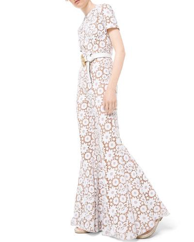 Floral Guipure Lace Flare-Leg Jumpsuit